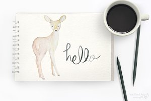 Watercolor Deer Digital Graphics