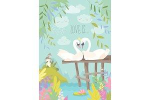 Cartoon swans in love. Fairy tale