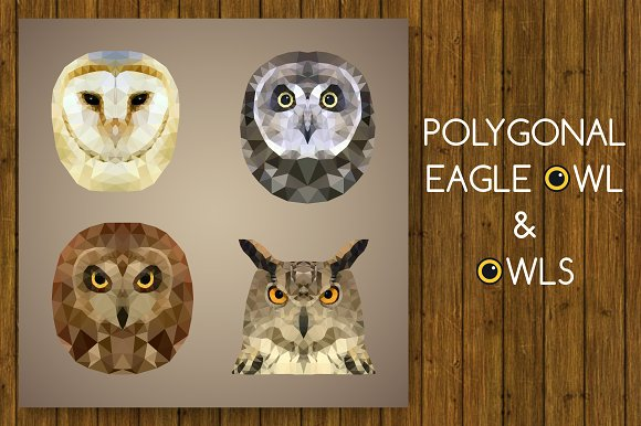 Polygonal eagle owl and owls