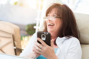 Attractive Middle Aged Woman Laughin