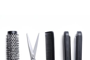 Hairdressing accessories isolated