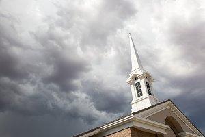 Church Steeple Tower Below Ominous S