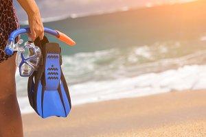 Woman Holding Snorkeling Gear