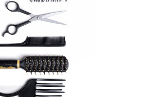 Hairdressing set isolated down