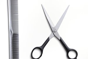 Scissors and comb barber isolated