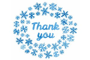 Thank you in watercolor snowflakes