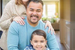 Mixed Race Family Portrait Inside Th