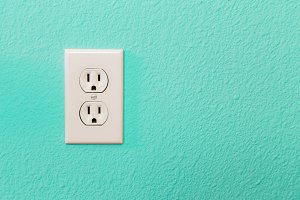 Electrical Sockets In Colorful Brigh