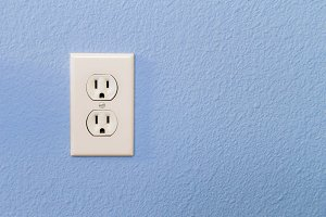 Electrical Sockets In Colorful Blue