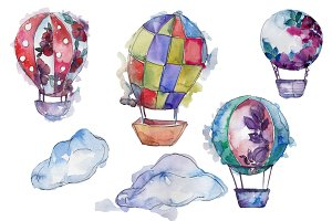 Watercolor hot air balloon PNG set