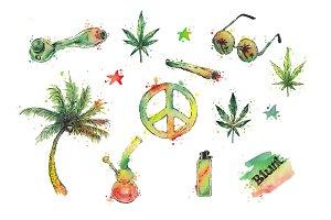 Watercolor cannabis