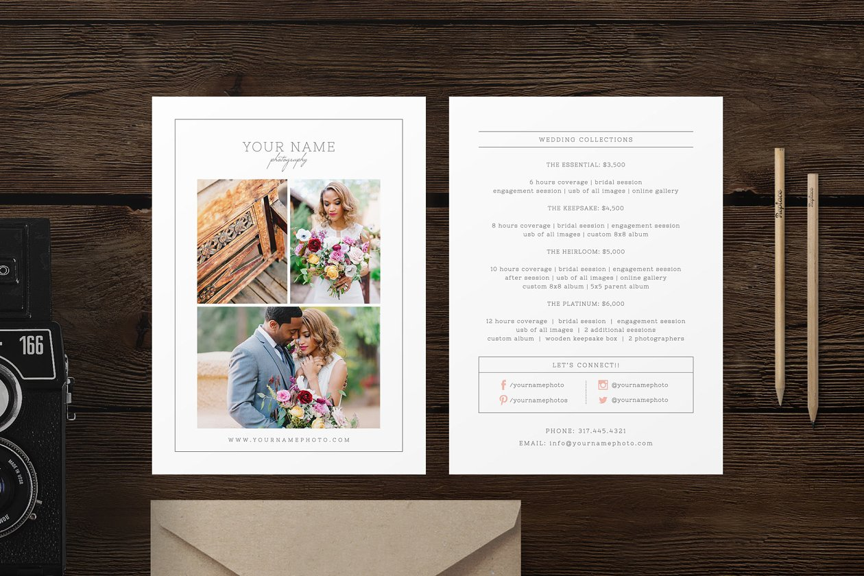 Rack card template for photographers flyer templates creative rack card pricing guide template maxwellsz