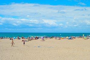 Crowd people ocean beach landscape