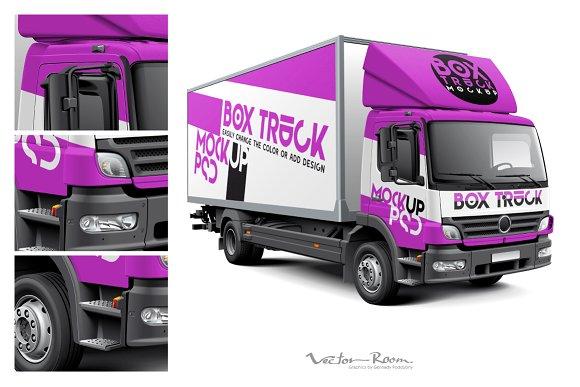 Box Truck Mockup Product Mockups Creative Market