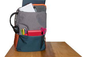 Heavily loaded backpack with school