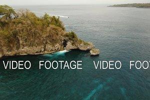Blue lagoon on a tropical island