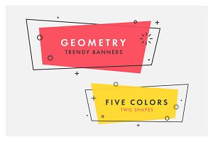 Set of flat geometric banners