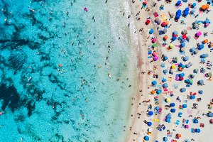 Aerial view of sandy beach