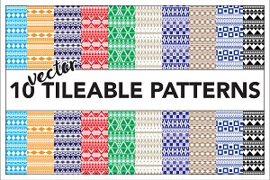 10 tileable seamless vector patterns