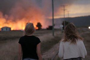 Friends walking near bush fire
