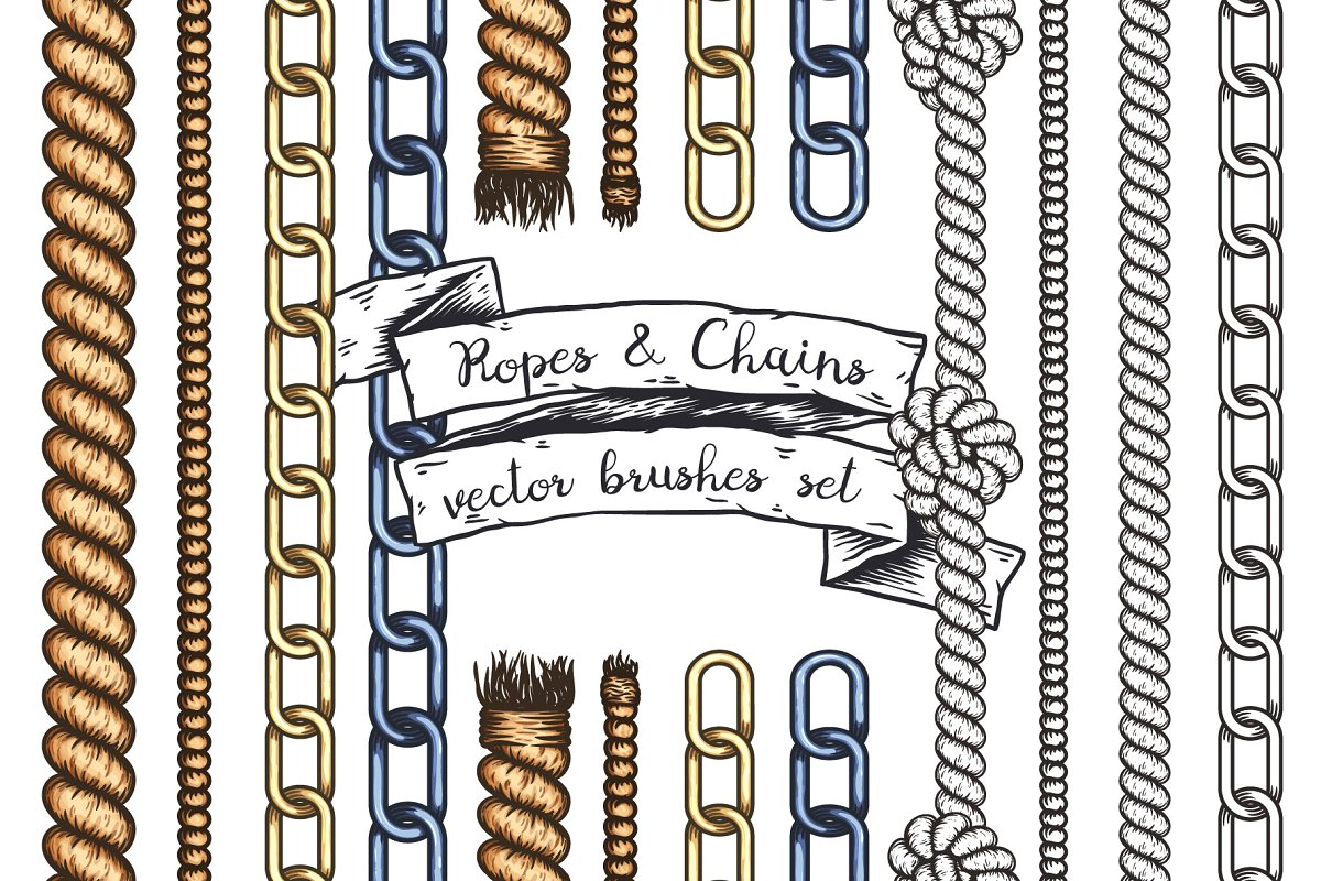 Ropes and Chains  Vector brushes  ~ Illustrations ~ Creative