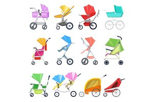 Stroller vector childish buggy or