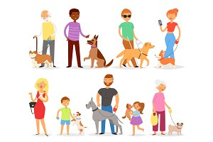 Dog-breeding vector people with pet