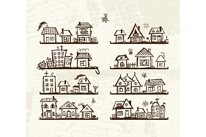 Sketch of cute houses on shelves for