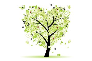 Valentine tree, love, leaf from
