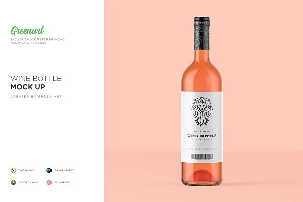 Product Mockups: Green Art - Clear Glass Wine Bottle Mockup