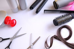 Hairdressing articles around a table