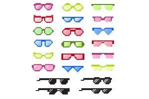 Glasses pixel with eyes vector