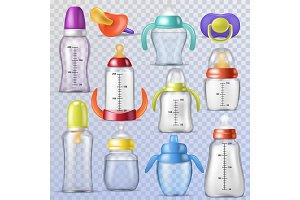 Baby bottle vector kids plastic