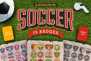 Soccer set of badges