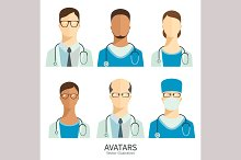 Doctors and medical staff. Icons set