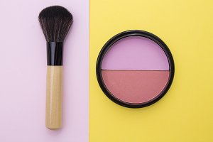 set of makeup with colorful backgrou