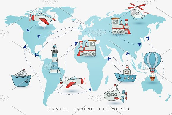 travel icons on the world map illustrations creative market