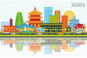 Xian China Skyline with Color