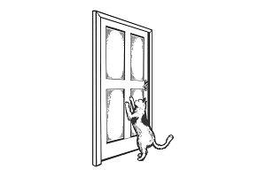 Cat near door engraving vector