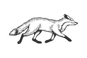 Running fox animal engraving vector