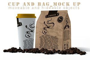 Cup And Paper Bag Mock Up