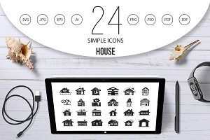 House icon set, simple style