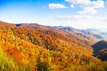 Panoramic mountains in Autumn