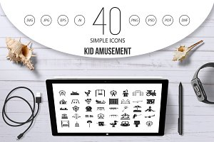 Kid amusement icon set, simple style