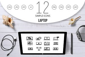 Laptop icon set, simple style