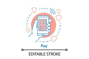 Cashless payment concept icon
