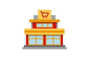 Shopping centre color icon