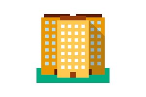 Multi-storey building color icon