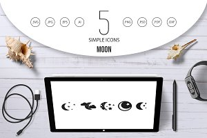 Moon icon set, simple style