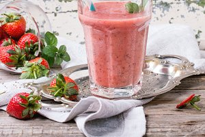 Red strawberry smoothie